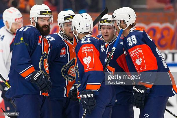 Linus Froberg of Vaxjo Lakers Robert Rosen of Vaxjo Lakers Cory Murphy of Vaxjo Lakers Tuomas Kiiskinen of Vaxjo Lakers and Calle Rosen of Vaxjo...