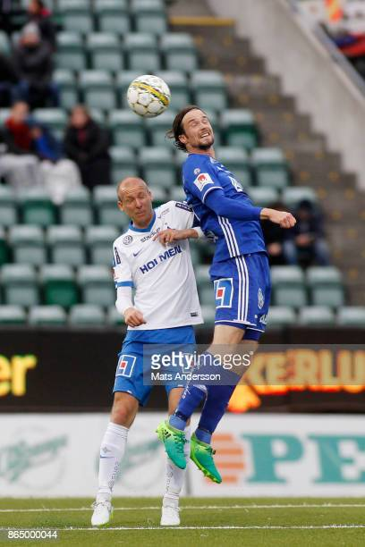 Linus Hallenius of GIF Sundsvall and Andreas Johansson of IFK Norrkoping during the Allsvenskan match between GIF Sundsvall and IFK Norrkoping at...