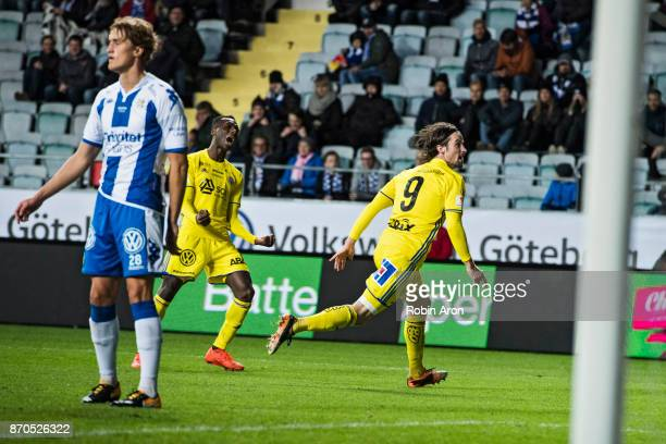 Linus Hallenius of GIF Sundsvall celebrates after scoring 03 during the Allsvenskan match between IFK Goteborg and GIF Sundvall at Gamla Ullevi on...