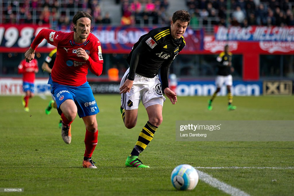 Linus Hallenius of Helsingborgs IF and Sauli Vaisanen of AIK during the Allsvenskan match between Helsingborgs IF and AIK at Olympia on April 28, 2016 in Helsingborg, Sweden.