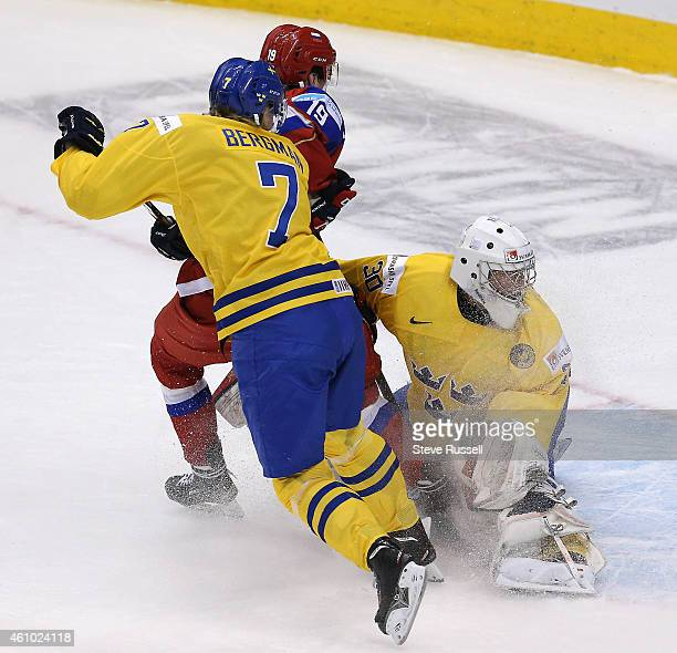 TORONTO ON JANUARY 4 Linus Soderstrom stops Pavel Buchnevich in close as Team Russia plays Team Sweden in the semi final round of the IIHF World...