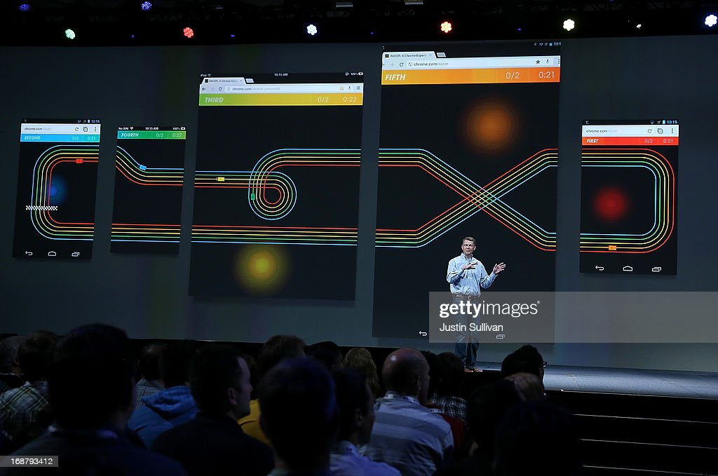 Linus Upson, Google vice president of Chrome, talks about Google Racer as he speaks during the opening keynote at the Google I/O developers conference at the Moscone Center on May 15, 2013 in San Francisco, California. Thousands are expected to attend the 2013 Google I/O developers conference that runs through May 17.