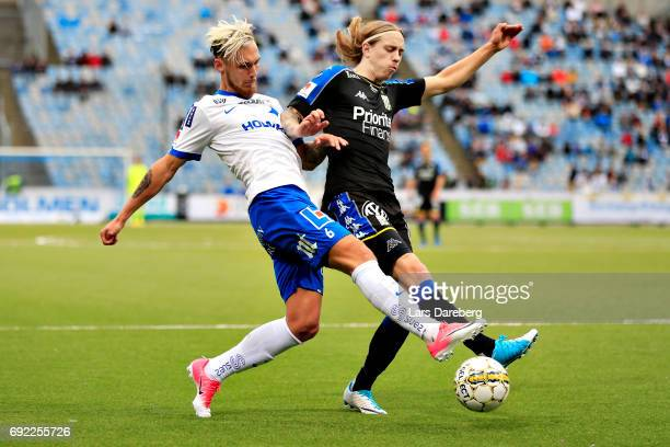 Linus Wahlqvist of IFK Norrkoping and Elias Mar Omarsson of IFK Goteborg during the Allsvenskan match between IFK Norrkoping and IFK Goteborg on June...