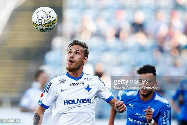 Linus Wahlqvist of IFK Norrkoping during the Allsvenskan match between IFK Norrkoping and Halmstad BK at Ostgotaporten on May 27 2017 in Norrkoping...