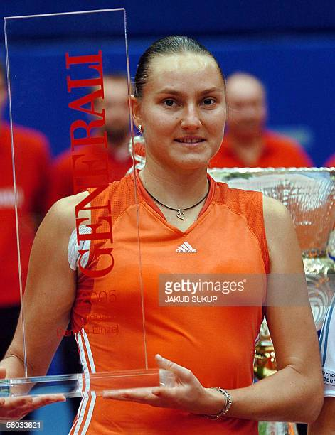 Nadia Petrova from Russia celebrates with the trophy 30 October 2005 after winning the 585000 dollars Linz WTA tournament Nadia Petrova beat Patty...