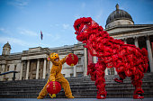 Lion and a Monkey dance on the steps of Trafalgar Square during a Chinese New Year photocall on February 8 2016 in London England The Year of the...
