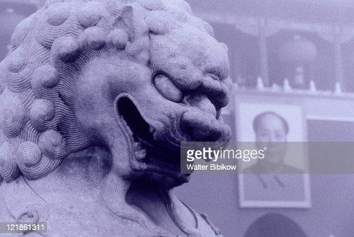 Lion and Mao Zedong,  Beijing, China : Stock Photo