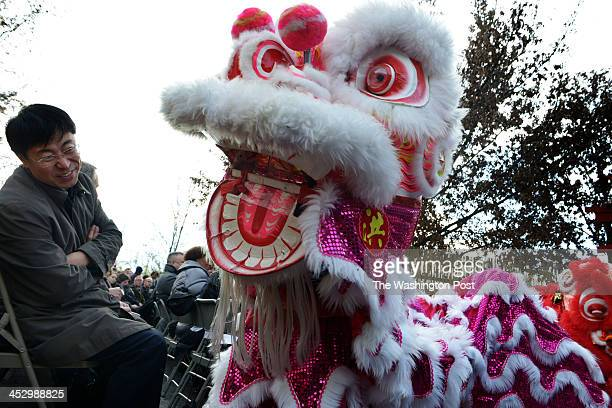 A lion dancer from the Hung Tao Choy Mei leadership institute in the District dances down the wise to start things off as Zoo officials and others...