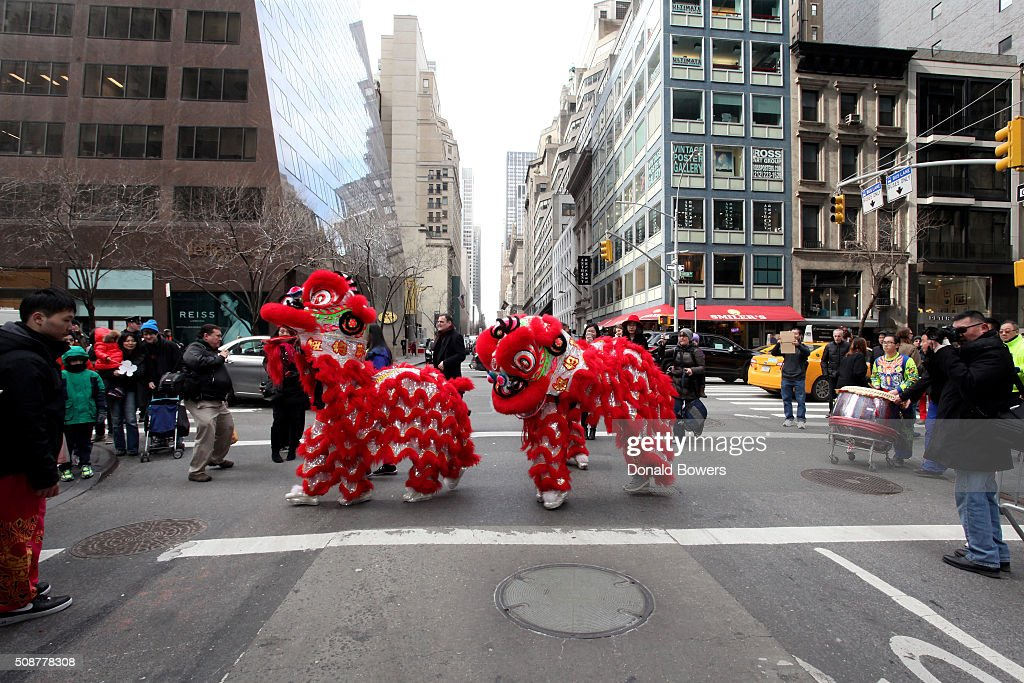Lion dancers at Madison Street To Madison Avenue Lunar New Year Celebration on February 6, 2016 in New York City.