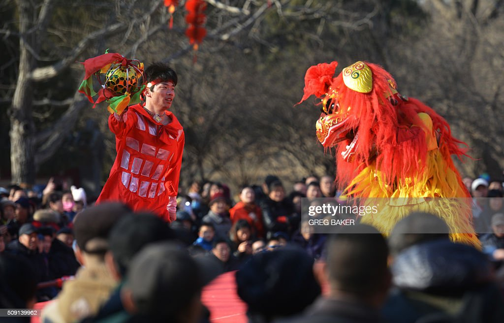 Lion dancers perform for a crowd in a park in Beijing during Lunar New Year celebrations on February 9, 2016. Millions of Chinese are celebrating Spring Festival, the most important holiday on the Chinese calendar, which this year marks the beginning of the Year of the Monkey. AFP PHOTO / GREG BAKER / AFP / GREG BAKER