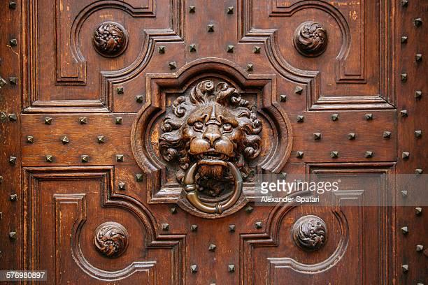 Lion door knocker on a wooden door
