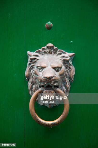 Lion door knocker on green door