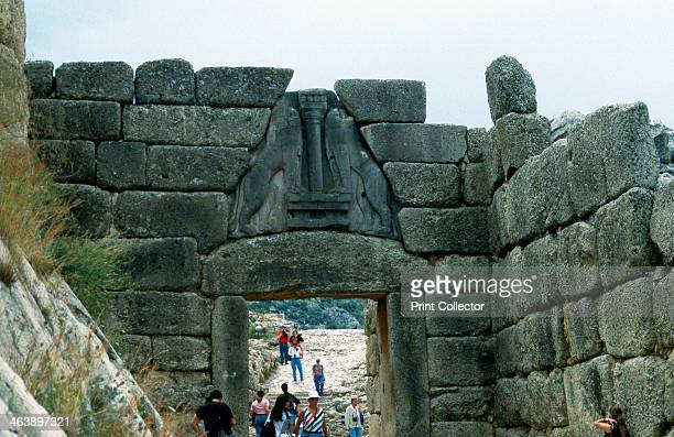 Lion Gate Mycenae Greece c1250 BC Mycenae was a prehistoric Greek city discovered by the German archaeologist Heinrich Schliemann in the 1870s The...