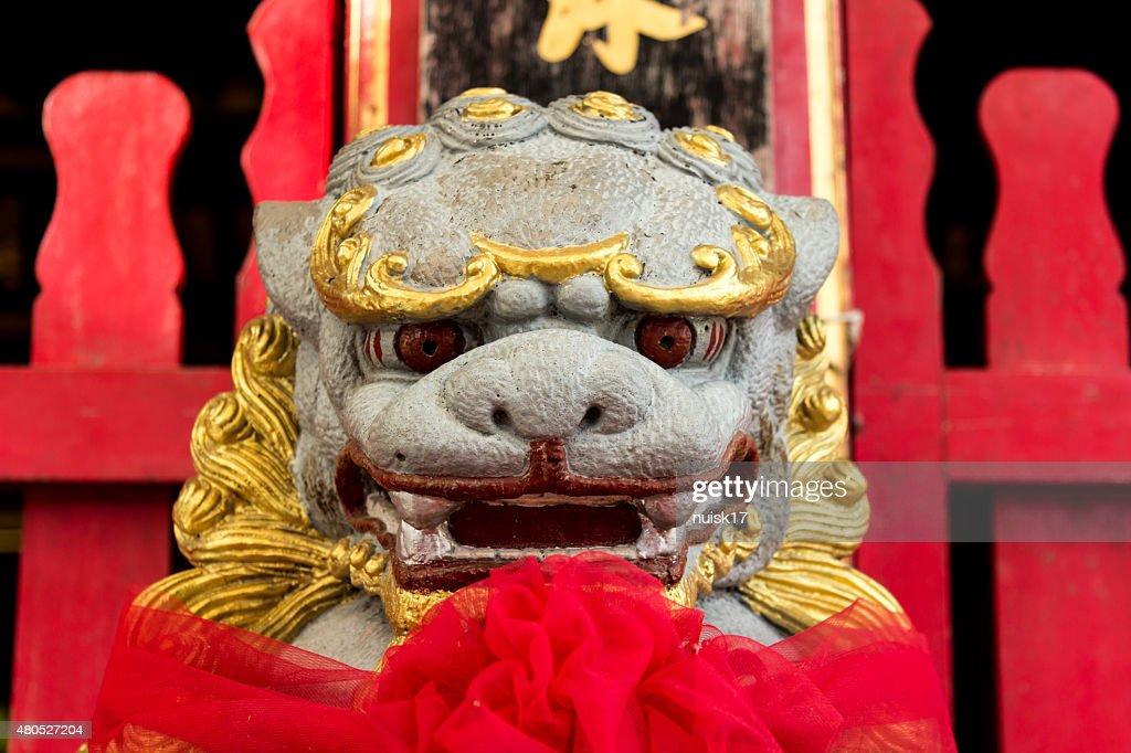 Lion grown stones. Singh model growing China : Stock Photo