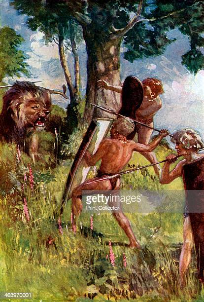 Lion hunters of the European Bronze Age Based on a representation of a lion hunt inlaid upon the blade of a dagger found at Mycenae Illustration from...