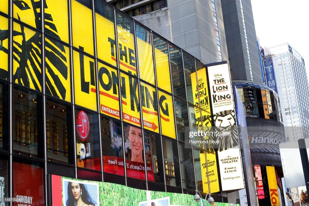 Lion King billboard along Broadway, in New York, New York on MAY