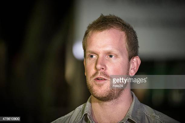 Lion Parks manager Scott Simpson addresses the media after a tourist was mauled by a lion at the park on June 1 2015 in Johannesburg South Africa An...