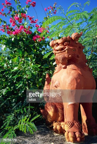 Lion shaped roof ornament of Okinawa : Stock Photo