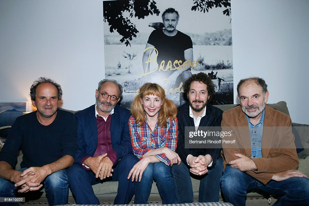 Lionel Abelanski, Louis Chedid, Guillaume Gallienne, Julie Depardieu and Jean-Pierre Darroussin attend the Brassens - Behind the Scenes and Press Junket on October 17, 2016 in Paris, France.