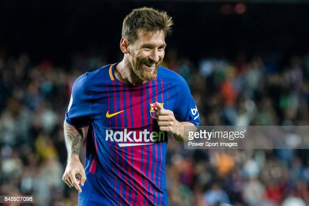 Lionel Andres Messi of FC Barcelona celebrates his hat trick during the La Liga match between FC Barcelona vs RCD Espanyol at the Camp Nou on 09...