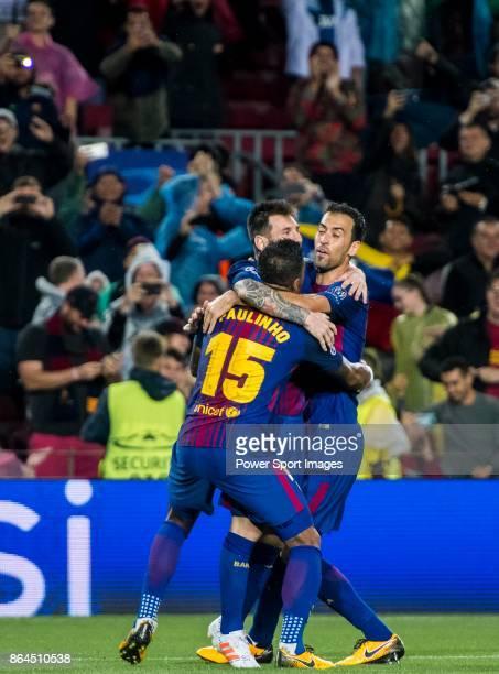 Lionel Andres Messi of FC Barcelona celebrates with teammates Jose Paulo Bezerra Maciel Junior Paulinho and Sergio Busquets Burgos during the UEFA...