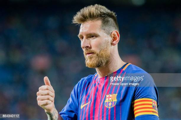 Lionel Andres Messi of FC Barcelona gestures during the La Liga 201718 match between FC Barcelona and SD Eibar at Camp Nou on 19 September 2017 in...