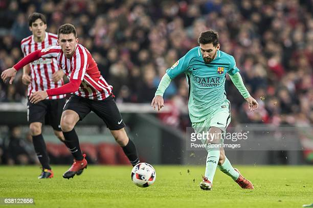 Lionel Andres Messi of FC Barcelona in action during their Copa del Rey Round of 16 first leg match between Athletic Club and FC Barcelona at San...
