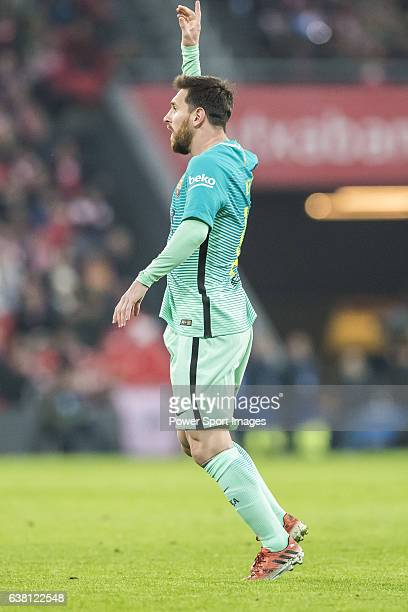 Lionel Andres Messi of FC Barcelona reacts during their Copa del Rey Round of 16 first leg match between Athletic Club and FC Barcelona at San Mames...