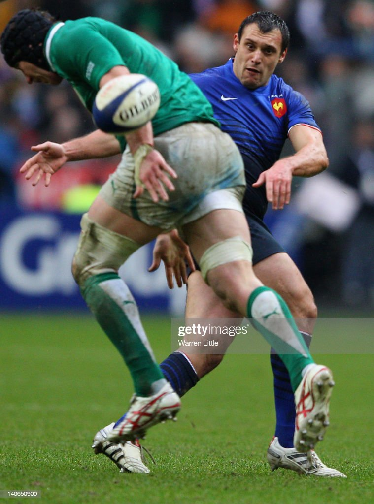 Lionel Beauxis of France has his match winning drop kick charged down by Stephen Ferris of Ireland during the RBS Six Nations match between France and Ireland at Stade de France on March 4, 2012 in Paris, France.