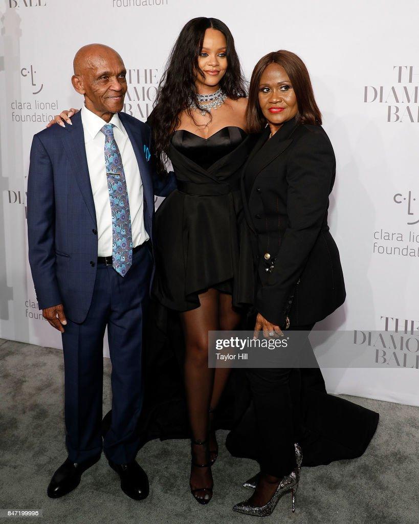 Lionel Braithwaite, Rihanna, and Monica Braithwaite attend the Diamond Ball at Cipriani Wall Street on September 14, 2017 in New York City.