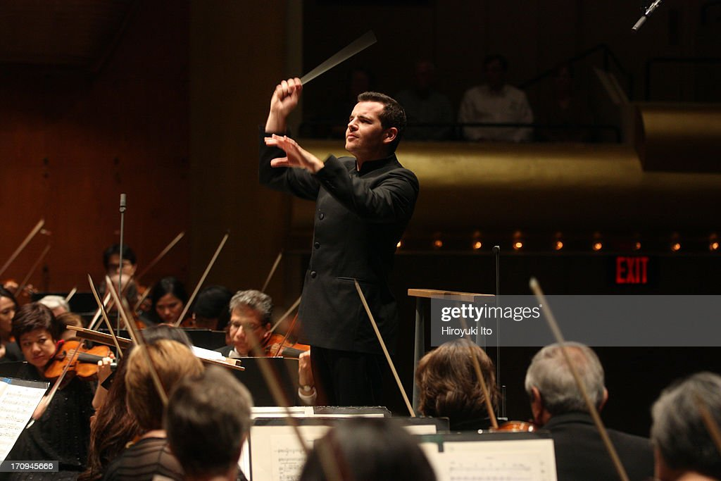 Lionel Bringuier leading the New York Philharmonic at Avery Fisher Hall on Thursday night June 13 2013This imageLionel Bringuier leading the New York...