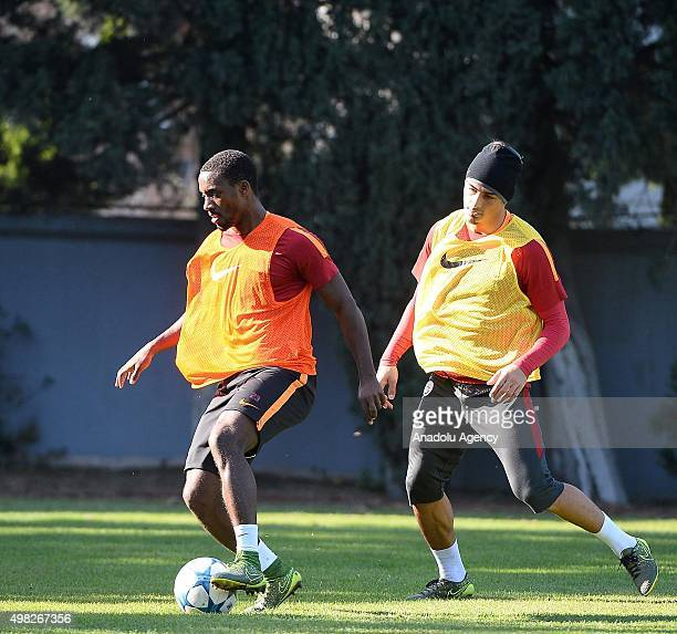 Lionel Carole and Koray Gunter of Galatasaray attend a training session at Florya Metin Oktay Sports Facility in Istanbul Turkey on November 22 2015...
