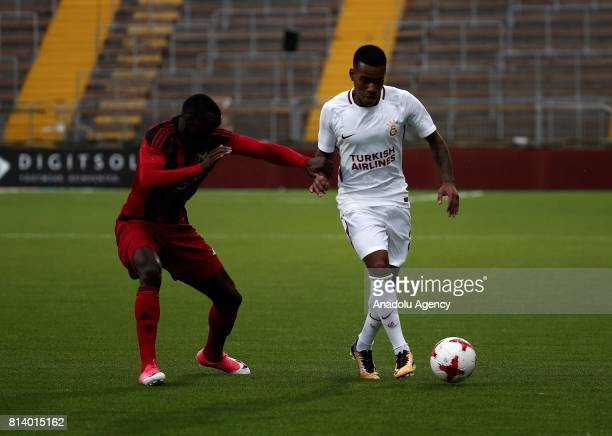 Lionel Carole of Galatasaray in action against Samuel Mensah Mensiro of Ostersund during the UEFA Europa League 2nd Qualifying Round soccer match...