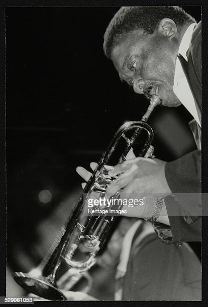 Lionel Hampton Orchestra trumpeter Cat Anderson performing at the Newport Jazz Festival Ayresome Park Middlesbrough July 1978 Artist Denis Williams