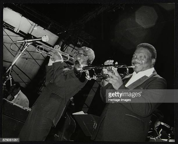 Lionel Hampton Orchestra trumpeters Joe Newman and Cat Anderson Newport Jazz Festival Ayresome Park Middlesbrough July 1978 Artist Denis Williams