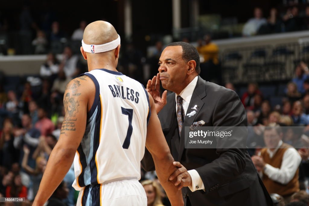 <a gi-track='captionPersonalityLinkClicked' href=/galleries/search?phrase=Lionel+Hollins&family=editorial&specificpeople=228995 ng-click='$event.stopPropagation()'>Lionel Hollins</a>, Head Coach of the Memphis Grizzlies, shares a word with <a gi-track='captionPersonalityLinkClicked' href=/galleries/search?phrase=Jerryd+Bayless&family=editorial&specificpeople=4216027 ng-click='$event.stopPropagation()'>Jerryd Bayless</a> #7 during the game against the Dallas Mavericks on February 27, 2013 at FedExForum in Memphis, Tennessee.