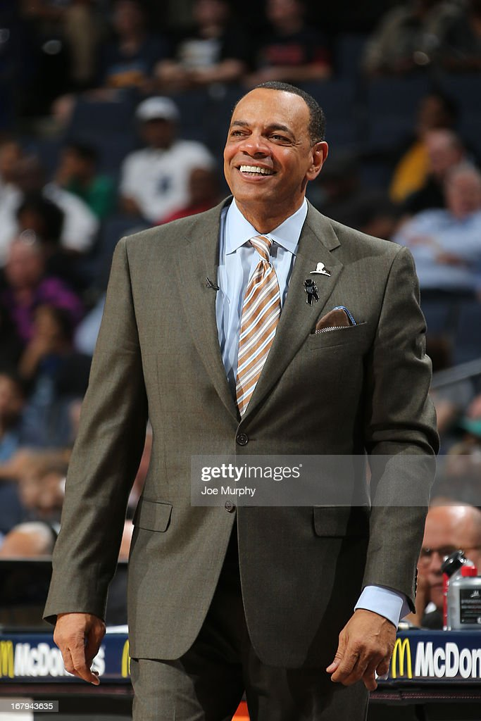<a gi-track='captionPersonalityLinkClicked' href=/galleries/search?phrase=Lionel+Hollins&family=editorial&specificpeople=228995 ng-click='$event.stopPropagation()'>Lionel Hollins</a>, Head Coach of the Memphis Grizzlies, smiles during the game against the Charlotte Bobcats on April 9, 2013 at FedExForum in Memphis, Tennessee.