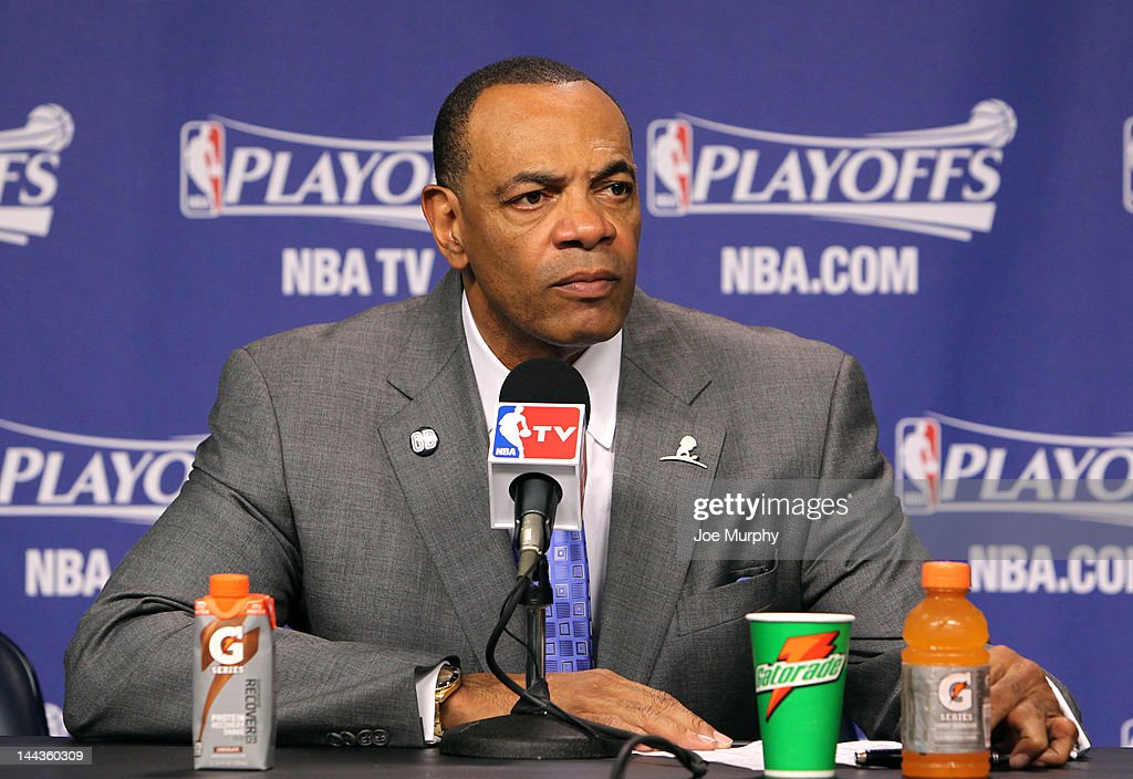 Lionel Hollins, Head Coach of the Memphis Grizzlies speaks to the media after the Memphis Grizzlies lost to the Los Angeles Clippers in Game Seven of the Western Conference Quarterfinals during the 2012 NBA Playoffs on May 13, 2012 at FedExForum in Memphis, Tennessee.