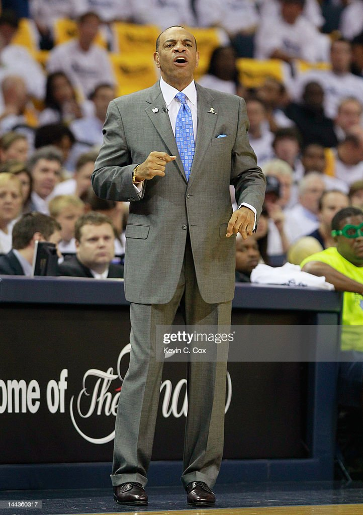 <a gi-track='captionPersonalityLinkClicked' href=/galleries/search?phrase=Lionel+Hollins&family=editorial&specificpeople=228995 ng-click='$event.stopPropagation()'>Lionel Hollins</a> of the Memphis Grizzlies yells to his team against the Los Angeles Clippers in Game Seven of the Western Conference Quarterfinals in the 2012 NBA Playoffs at FedExForum on May 13, 2012 in Memphis, Tennessee.