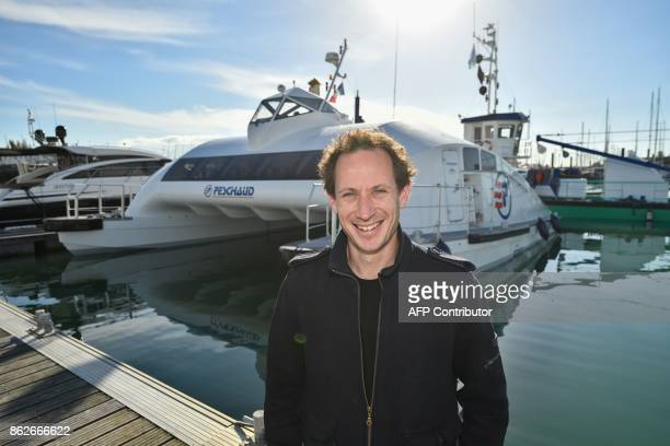 Lionel Huetz CEO of Advanced Aerodynamic Vessels company poses in front of his new transportation vessel in La Rochelle southwestern France on...