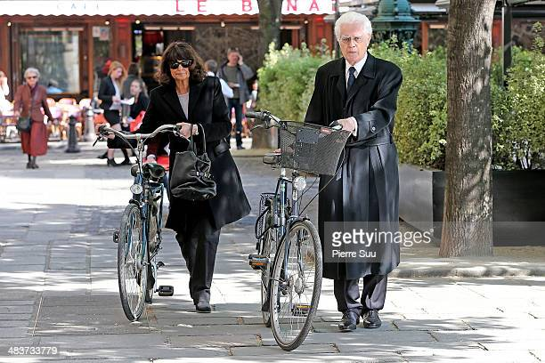 Lionel Jospin and his wife Sylviane Agacinski attend the funerals of french writer Regine Deforges at St Germain church on April 10 2014 in Paris...