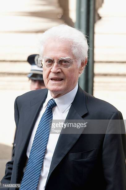 Lionel Jospin arrives at Elysee Palace for a ceremony in which Francois Hollande was sworn into office as President on May 15 2012 in Paris France...