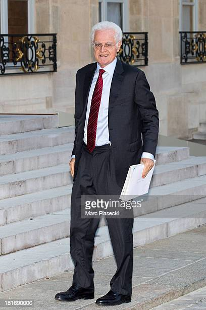 Lionel Jospin arrives at the Elysee presidential palace on September 23 2013 in Paris France France won the 2013 EuroBasket Championship yesterday by...