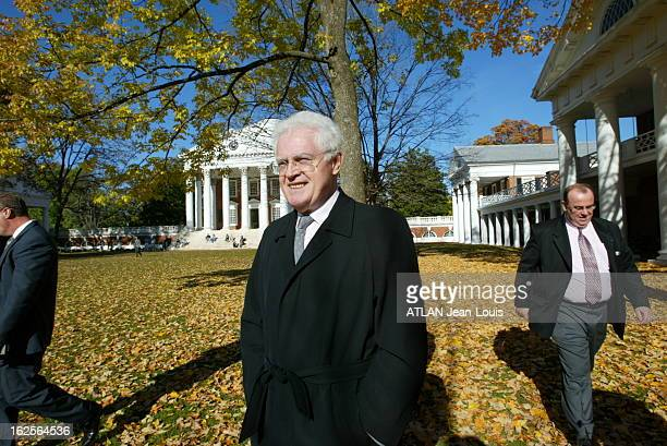 Lionel Jospin Taking Part In Symposium At The University Of Charlottesville In Virginia A l'occasion d'un colloque sur ' Religion et Démocratie' à...