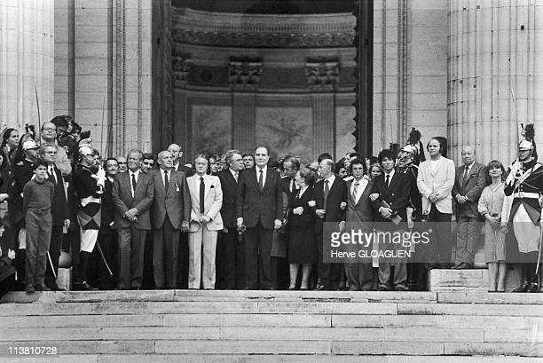Lionel JospinRoland DumasFrancois Mitterrand and Jack Lang outside the Pantheon on May 21 1981 in ParisFrance