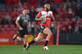Lionel Mapoe of the Emirates Lions holds the ball during the Super Rugby quarter final clash between the Emirates Lions and the Crusaders at Ellis...