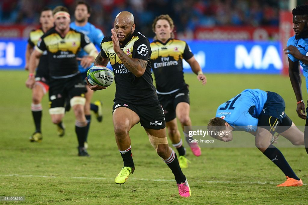 Lionel Mapoe of the Lions during the Super Rugby match between the Vodacom Bulls and Emirates Lions at Lotus Versfeld Stadium on May 28, 2016 in Pretoria, South Africa.