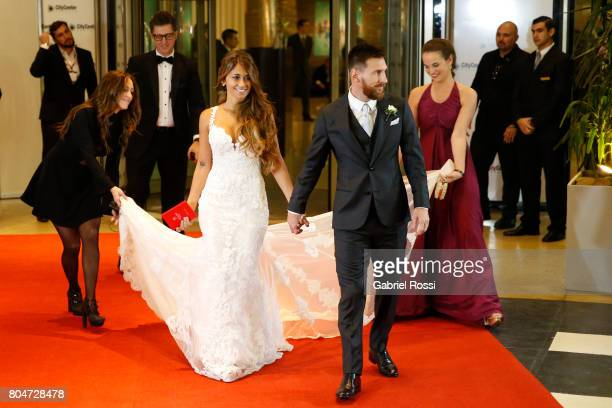Lionel Messi and Antonela Rocuzzo pose for pictures during Lionel Messi and Antonela Rocuzzo's Wedding at City Center Hotel on June 30 2017 in...