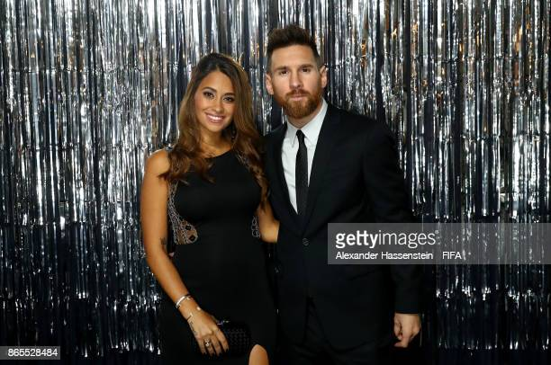 Lionel Messi and his wife Antonella Roccuzzo is pictured inside the photo booth prior to The Best FIFA Football Awards at The London Palladium on...