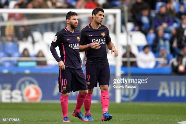 Lionel Messi and Luis Suarez of FC Barcelona during the La Liga match between RC Deportivo La Coruna and FC Barcelona at Riazor Stadium on March 12...